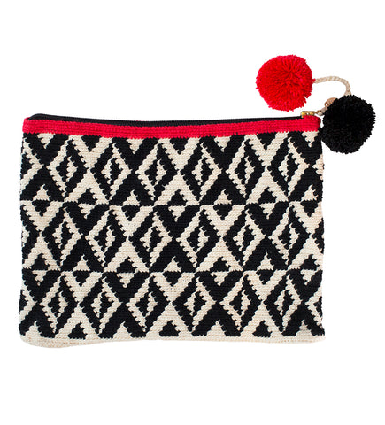 All Over Tassel Clutch: Red