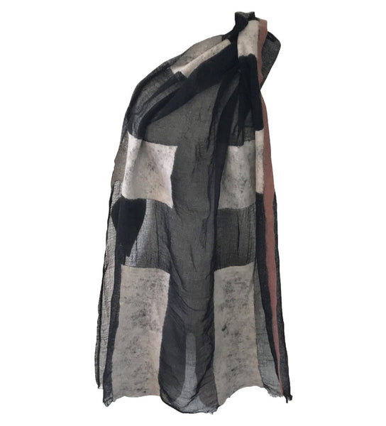Sheer Block Felted Shawl: Black with Grey
