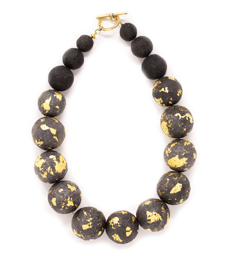 Black and Gold Foil Ball Necklace