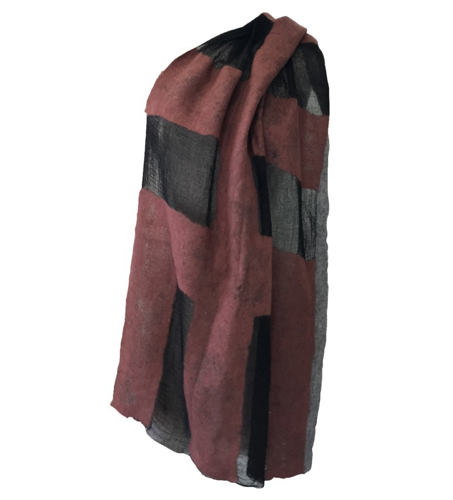 Sheer Block Felted Shawl: Black with Rust