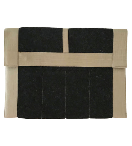 Felted Laptop Case: Black with Natural