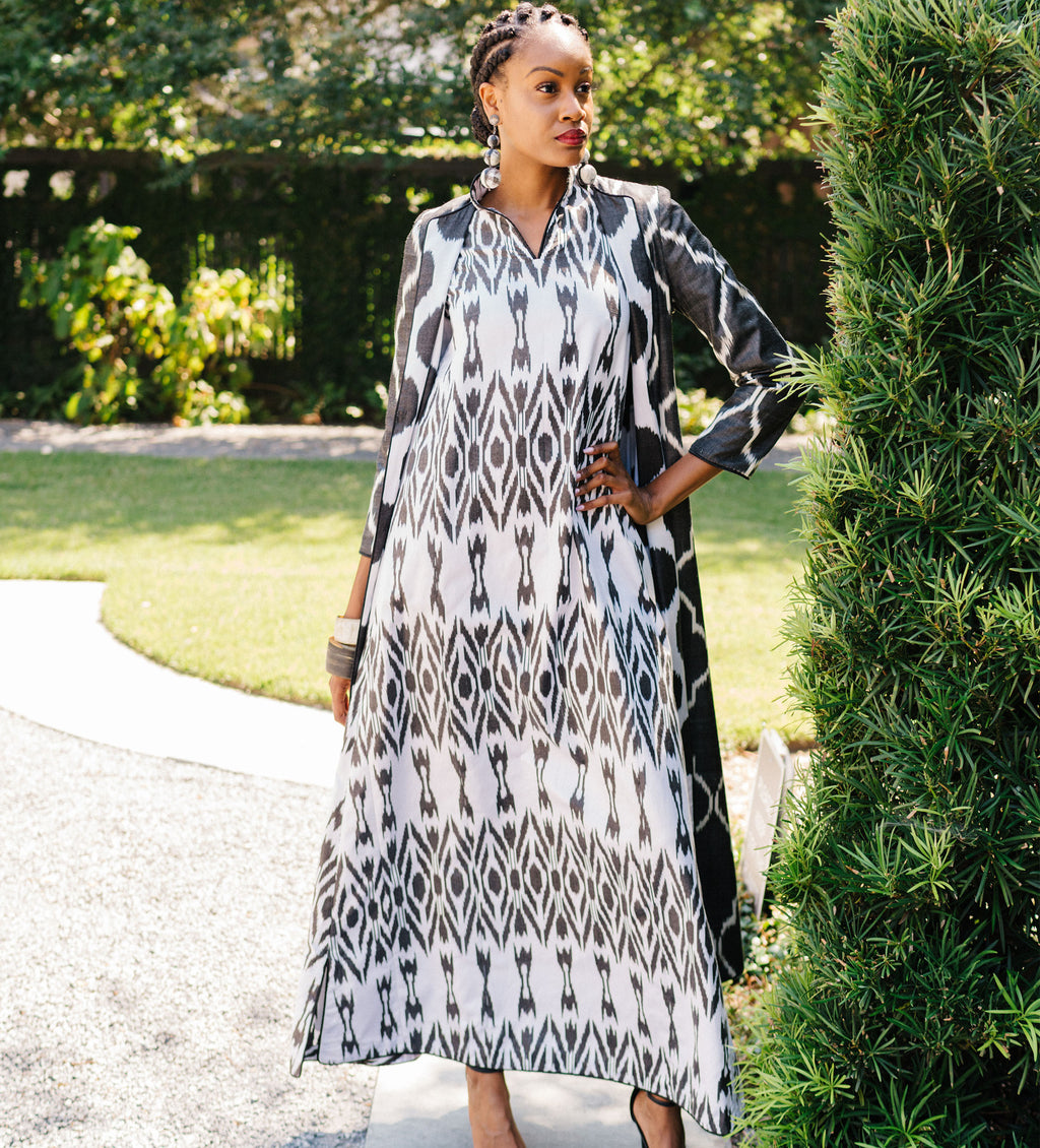 Ikat Long Dress: Black and White