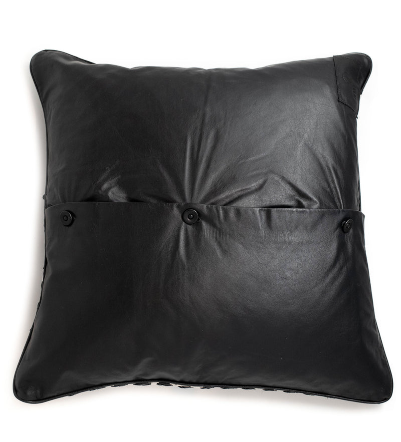 Black and White Leather Pillow