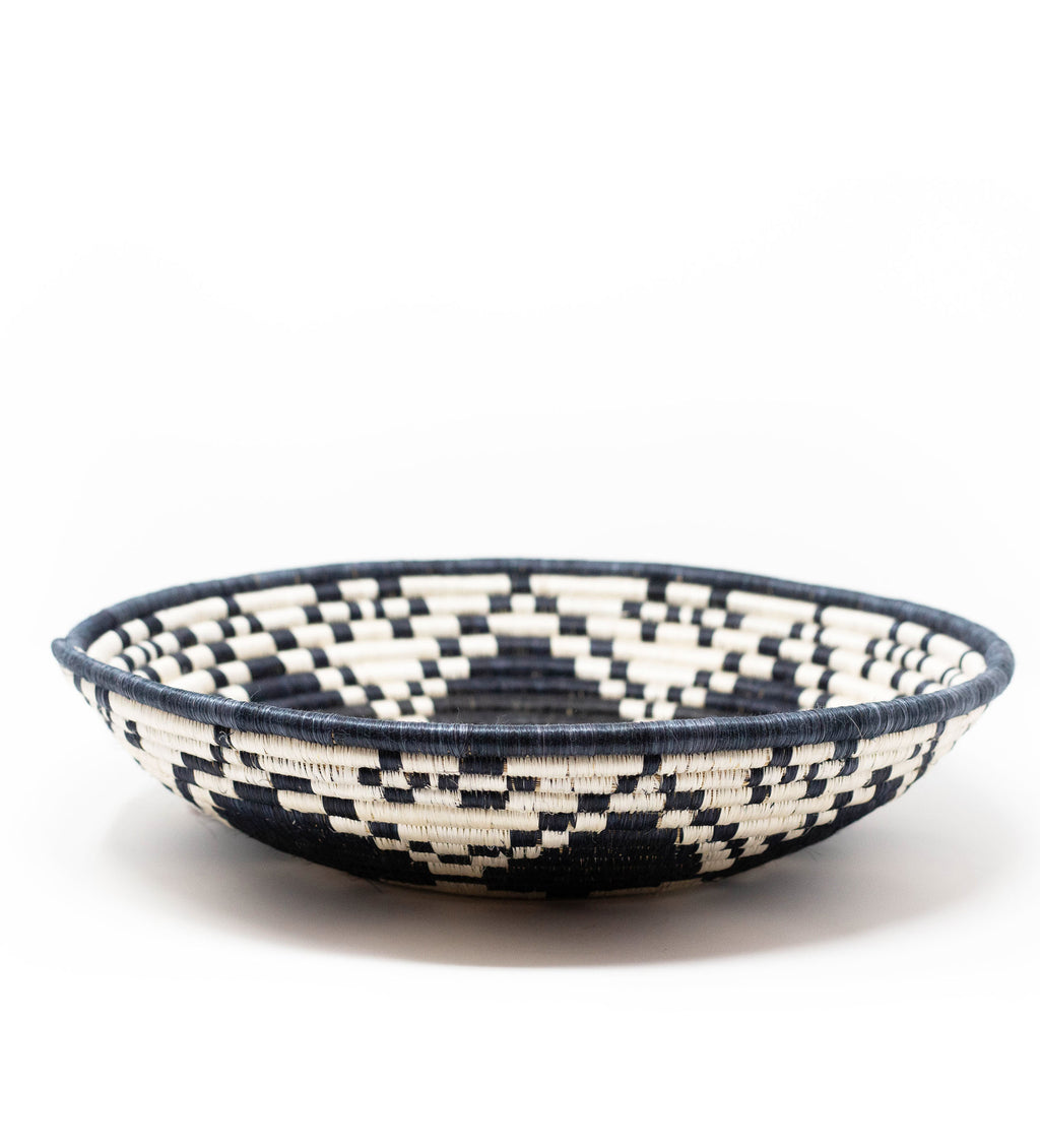 Black and White Raffia Basket: Extra Large