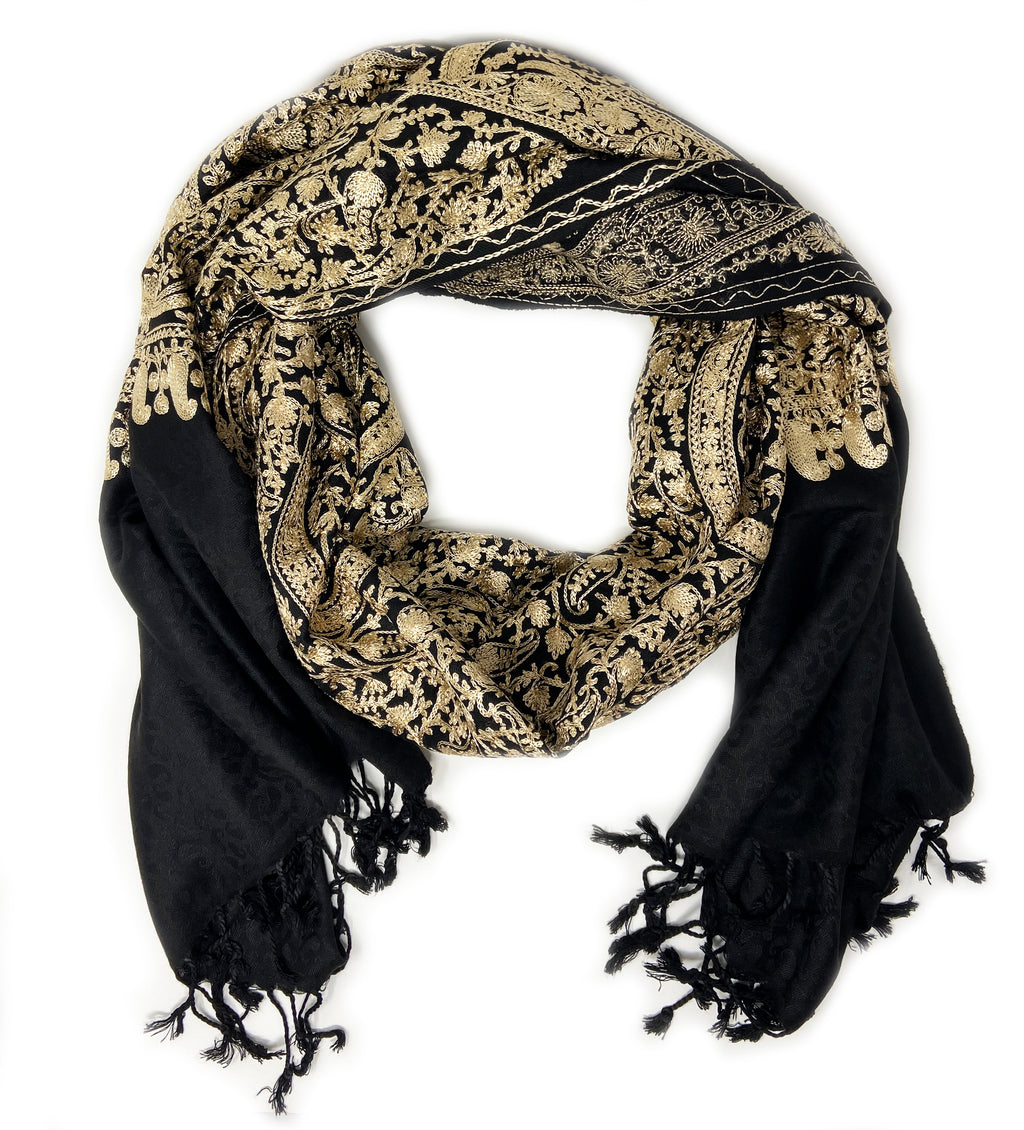 Sanika Embroidered Shawl: Black with Gold
