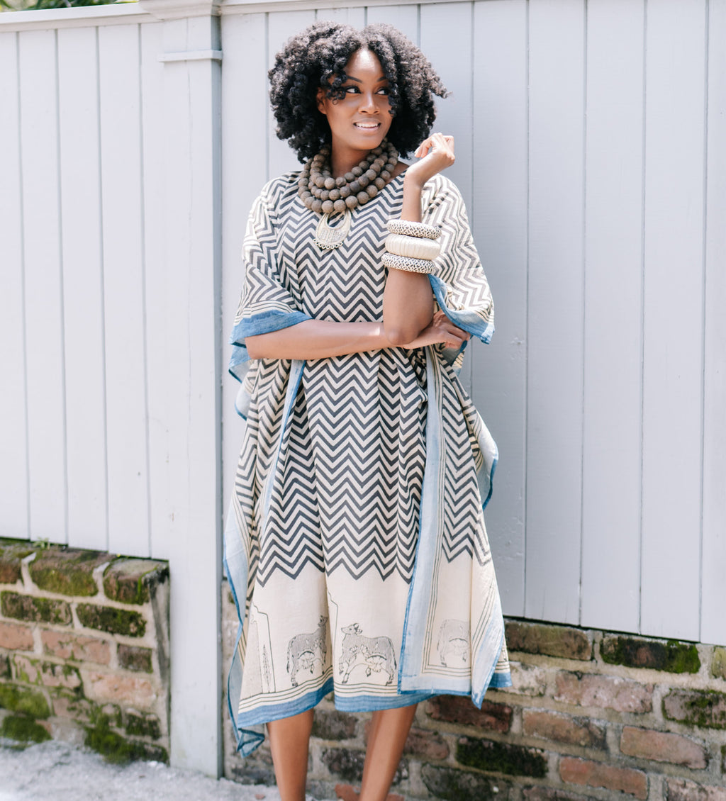 Block Printed Cow Caftan: Chevron