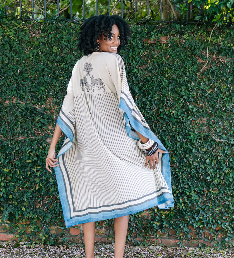 Block Printed Cow Caftan: Palm