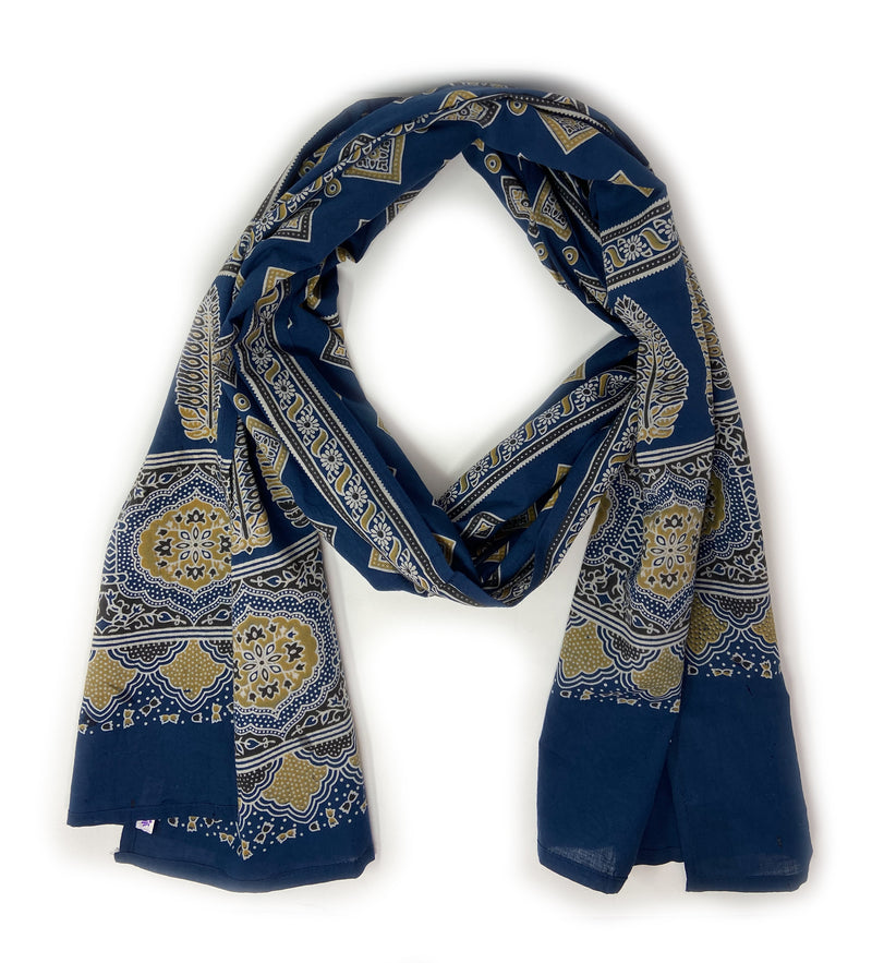 Block Printed Scarf: Chartreuse on Navy