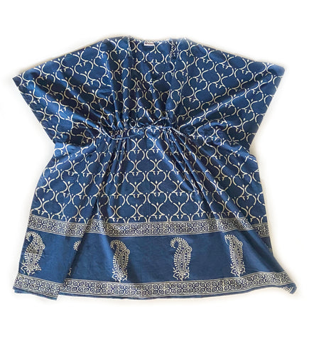 Block Printed Short Caftan: Coral and Blue