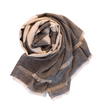 Indian Cotton Tassel Scarf: Black and White