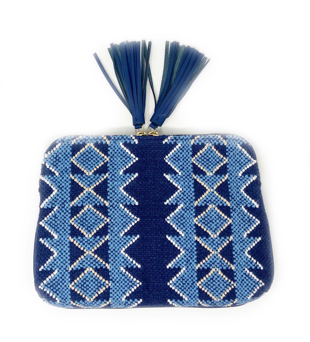 Woven Double Tassel Clutch: Navy and Sky
