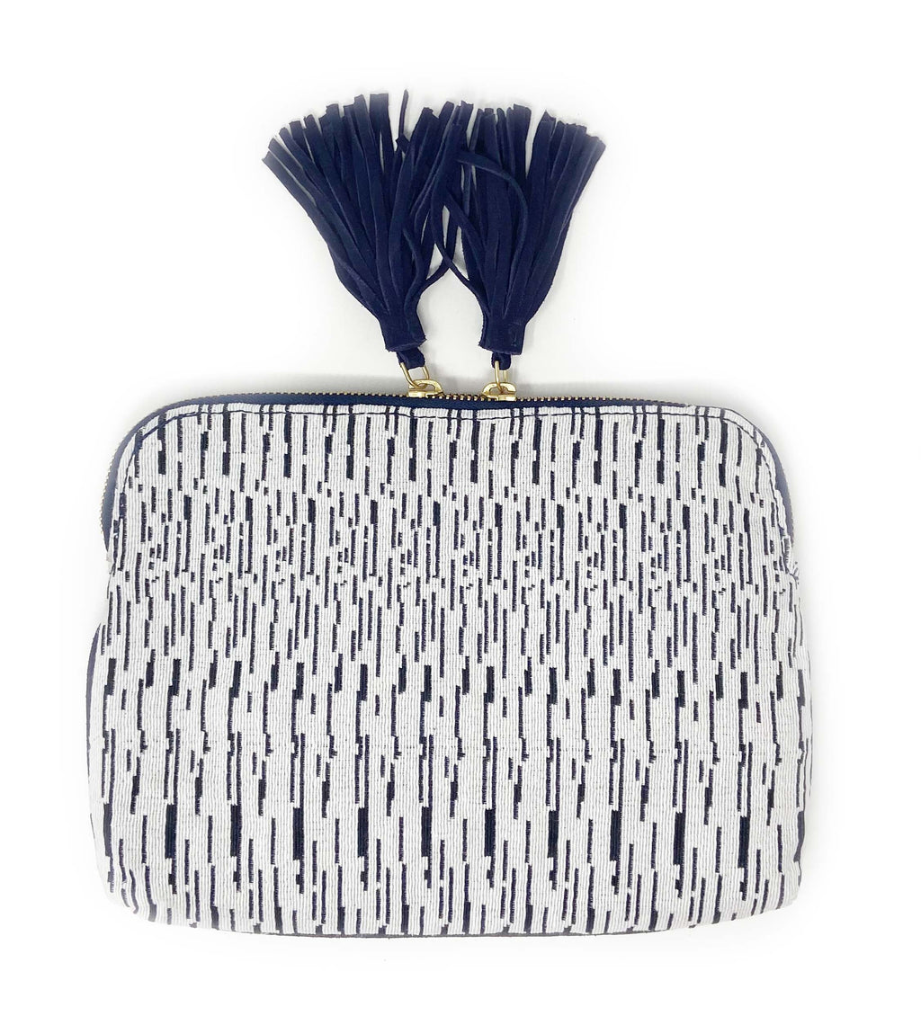Woven Double Tassel Clutch: Black and White