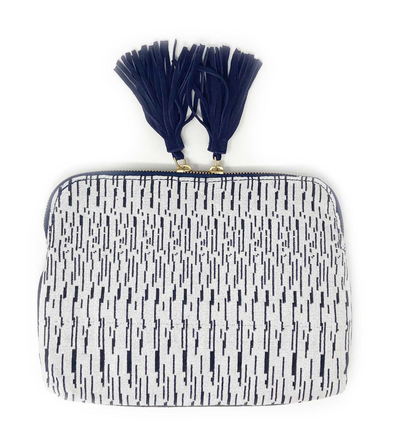 Woven Double Tassel Clutch: Navy and White