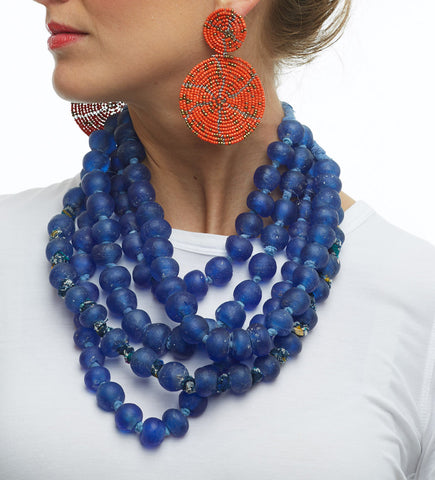 Luminescent African Glass Beads: Blue Single Strand