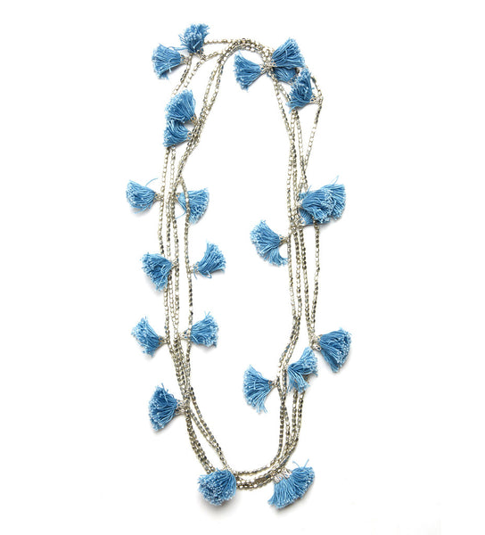 Extra Long Tassel Necklace: Periwinkle