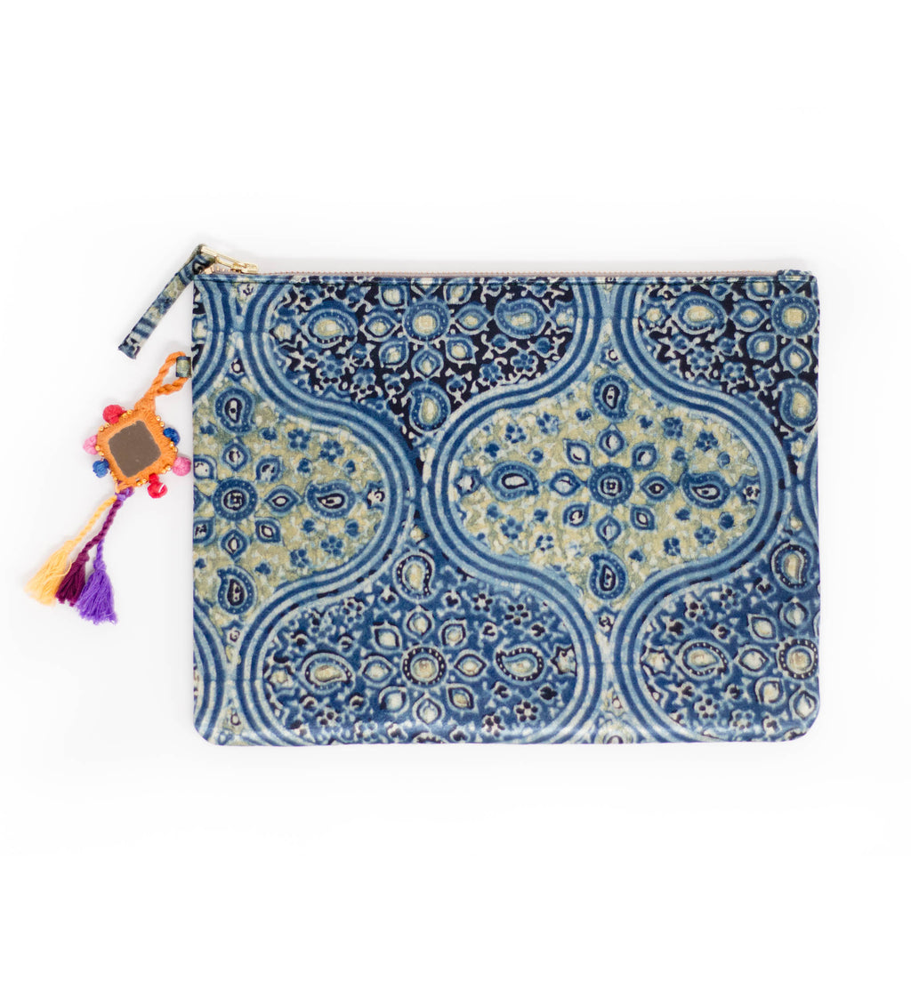 Ajrakh Trellis Pattern Zip Clutch