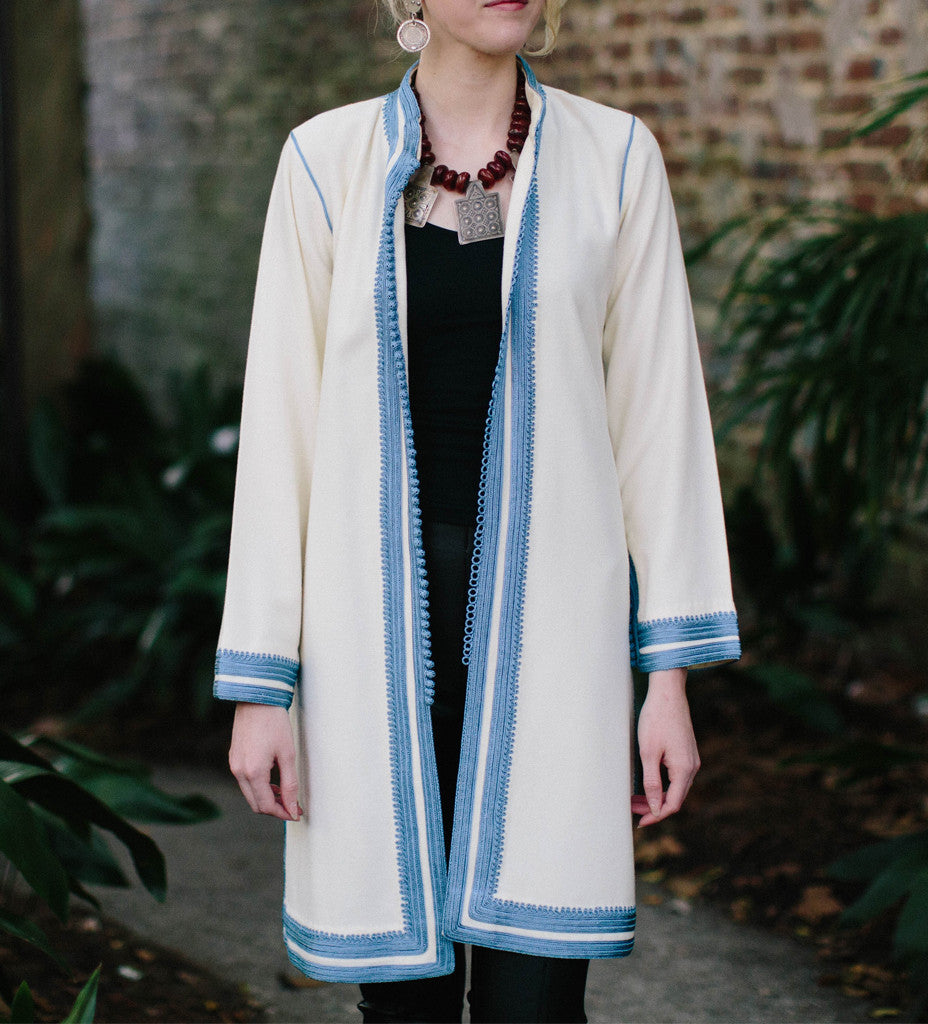 Women's Moroccan Jacket: Sky Blue on White