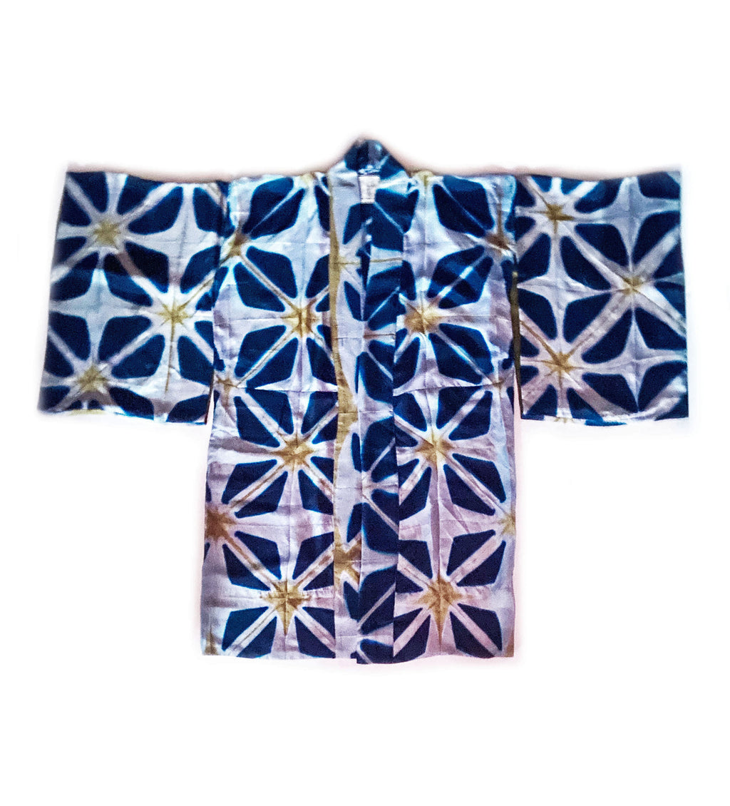 Itajime Silk Kimono: Light Blue and Chartreuse