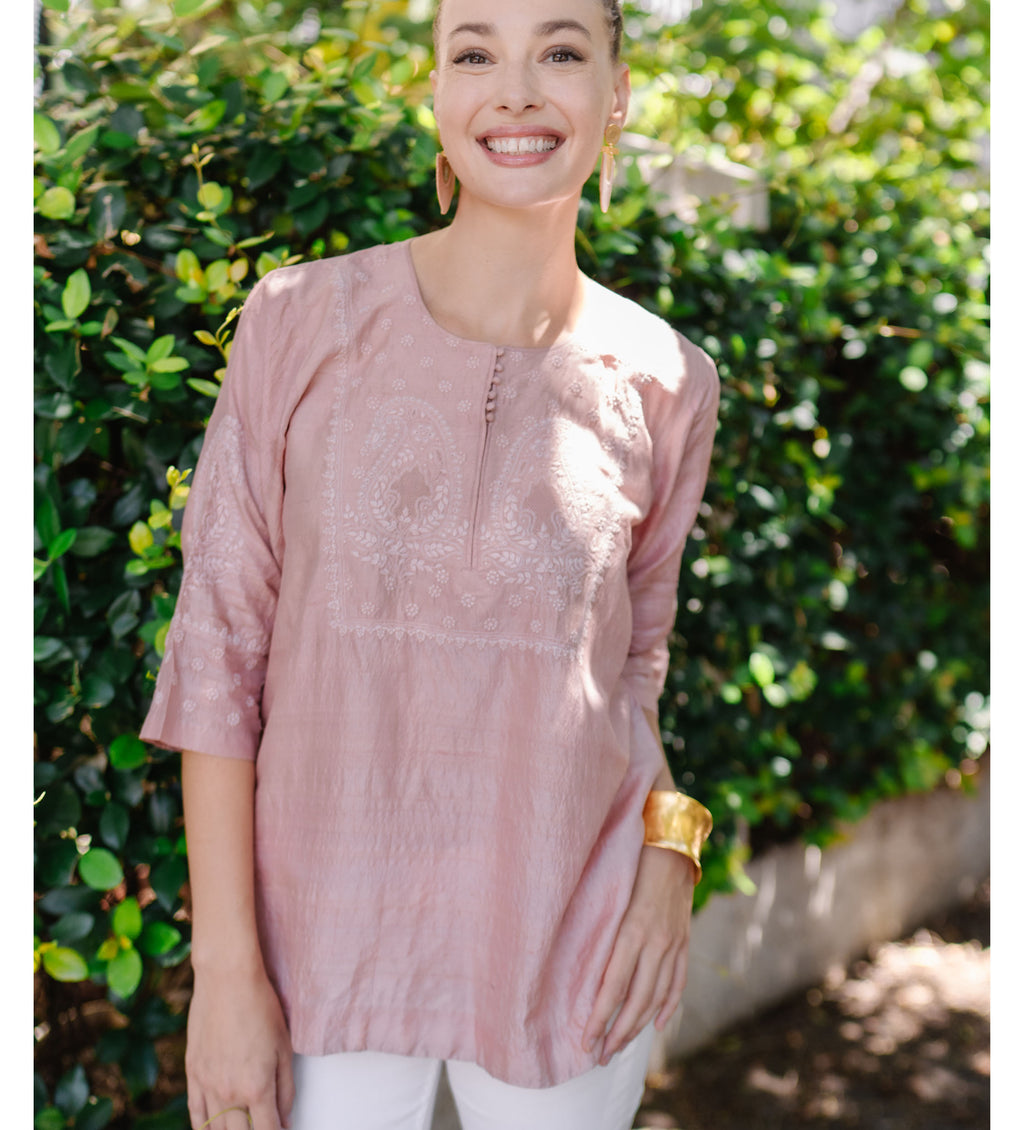 Blush Pink Embroidered Silk Top