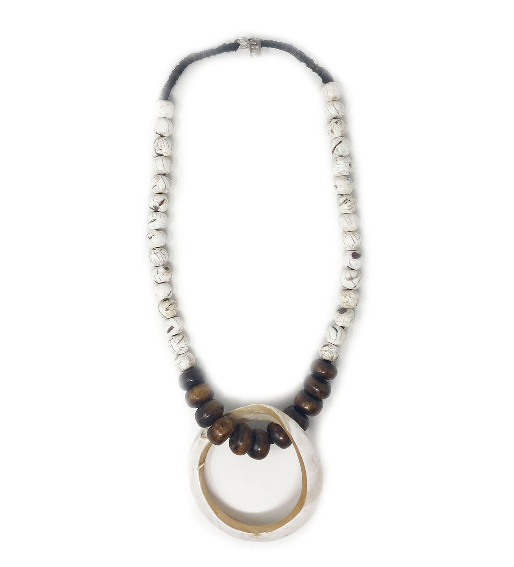 Bone Necklace with Large Shell