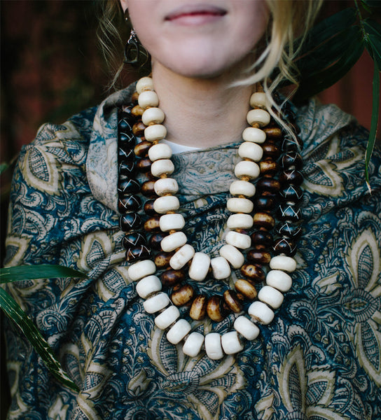 Singular Strength African Bone Beaded Necklace: White Short