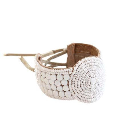 Beaded Disk Bracelet with Leather: White