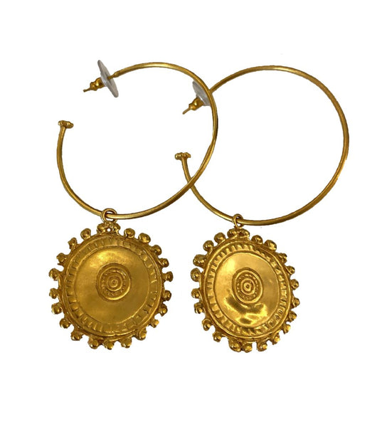 Brass Hoop Earring with Medallion
