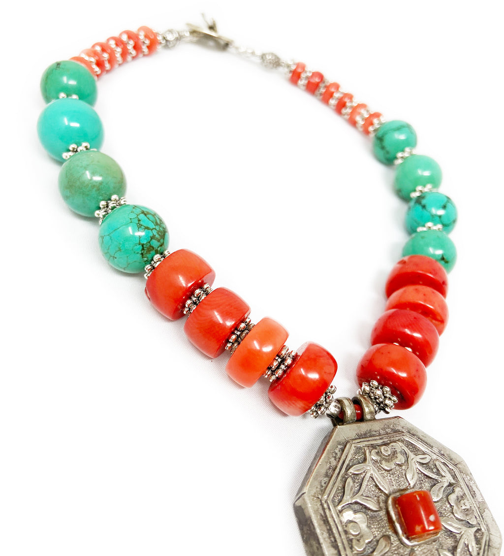 Turquoise and Coral Silver Box Necklace