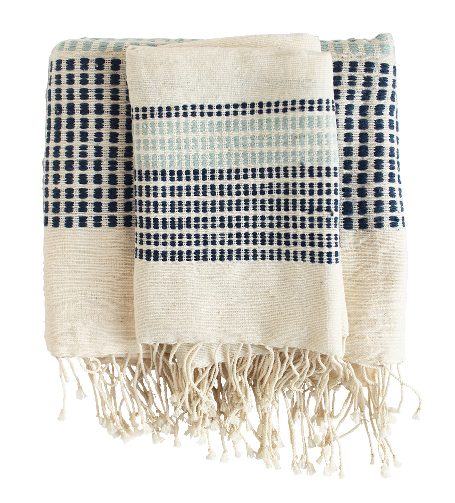 Camden Dots Bath Towel: Navy and Azure