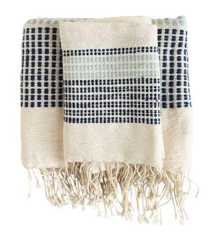 Ikat Cloud Cotton Towel: Grey
