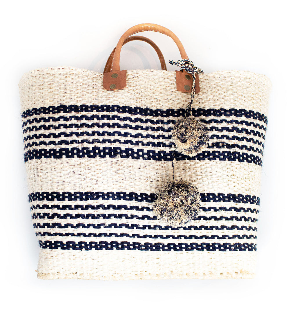 Caracas Double Stripe Pom Pom Tote: Natural with Navy