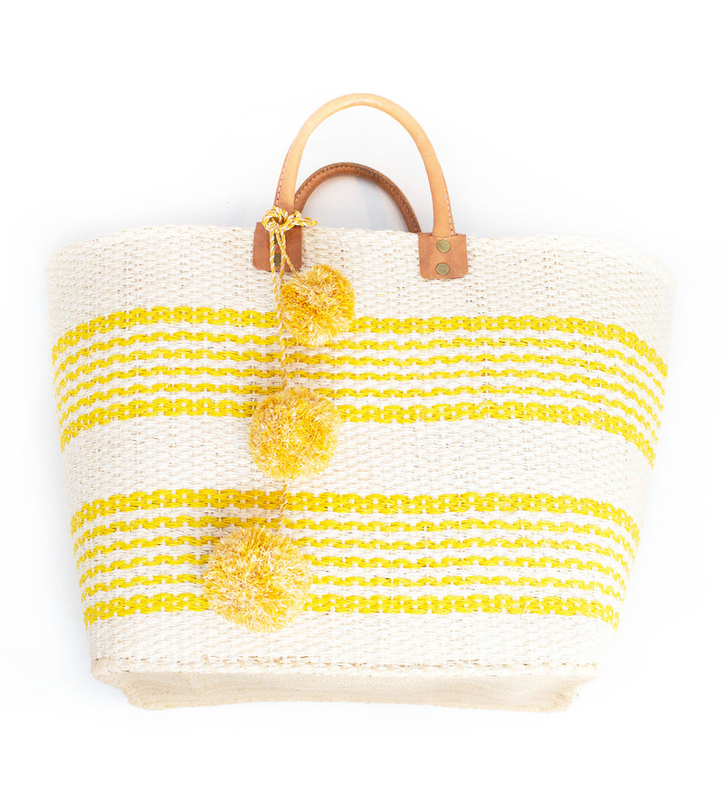 Caracas Double Stripe Pom Pom Tote: Natural with Sunflower