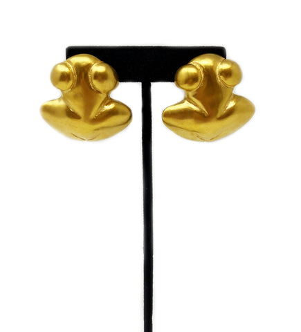 Hope with Feathers Earring: Black with Gold