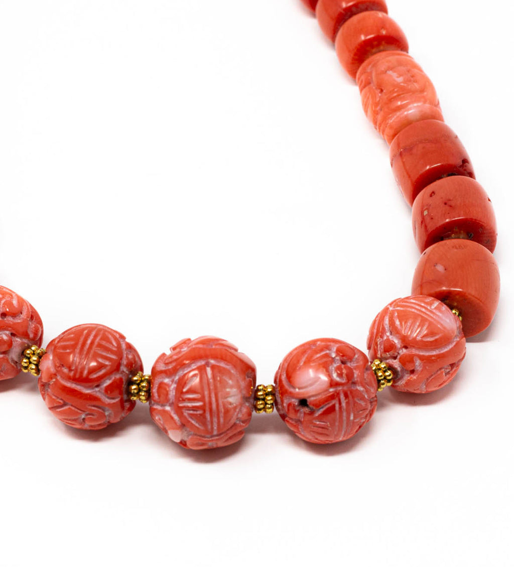 Carved Coral Beaded Necklace