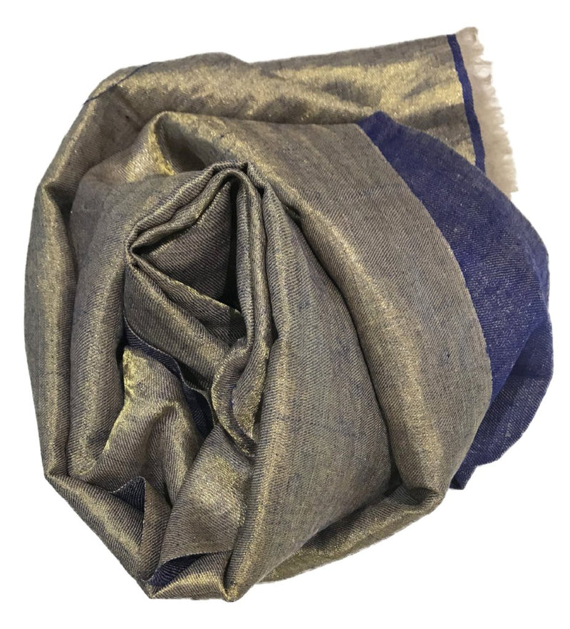 Cashmere Handwoven Metallic Scarf: Blue/Gold