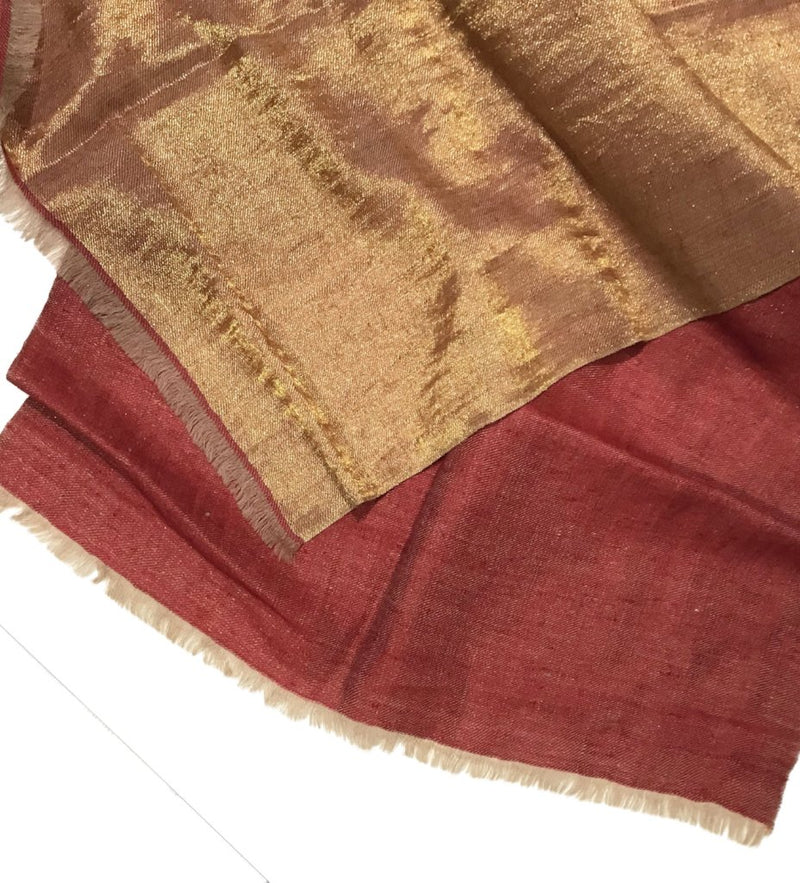 Cashmere Handwoven Metallic Scarf: Red/Gold