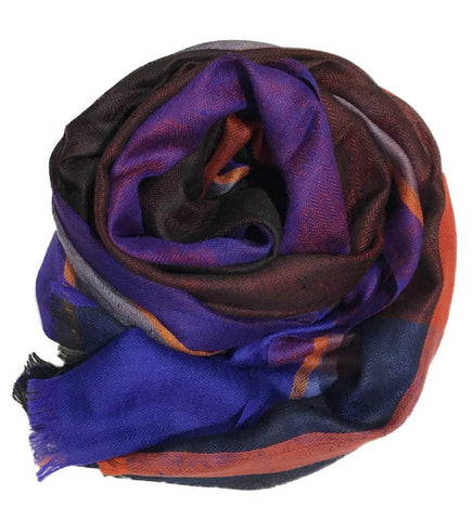 Samita Stripe Scarf: Magenta and Orange