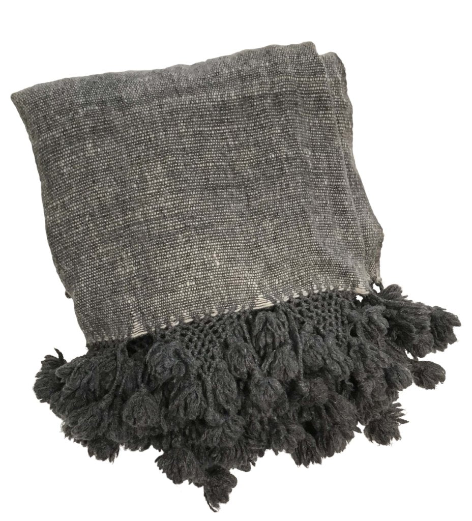 Cashmere Handwoven Shawl: Charcoal Melange
