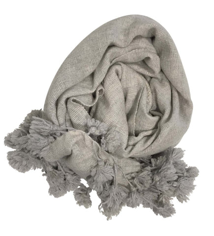 Indian Cotton Tassel Scarf: Grey with Red Detail