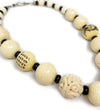 Chinese Game Piece Ox Bone Carved Necklace