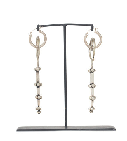 Chinese Silver Bar Drop Earring