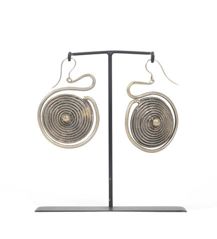 Chinese Silver Round Coil Earrings
