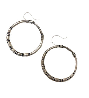 Chinese Silver Large Hoop Earring