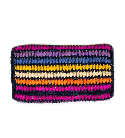 Woven Double Tassel Clutch: Turquoise and Pink