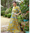 At Home Caftan: Blue and Citron