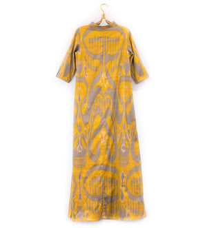 Citron and Blue Ikat Dress