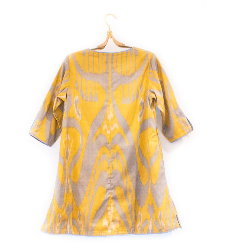 Citron and Blue Ikat Tunic