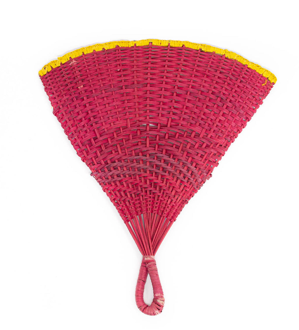 Woven Fan: Pink and Yellow