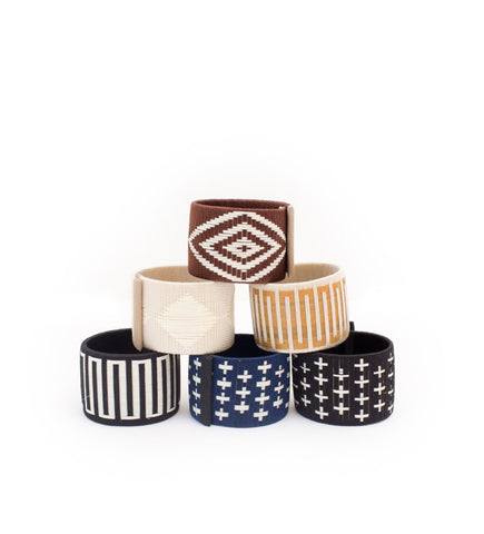 Beaded Brass Cuff: Navy