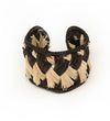 Colombian Woven Raffia Cuff: Natural with Black